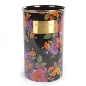 MacKenzie Childs Black Flower Market Enamel Utensil Jar