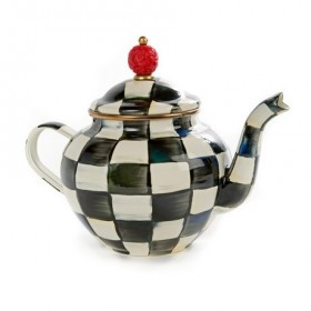 MacKenzie Childs Courtly Check Enamel Teapot 4 Cup