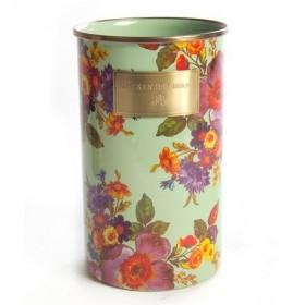 MacKenzie Childs Green Flower Market Enamel Utensil Jar
