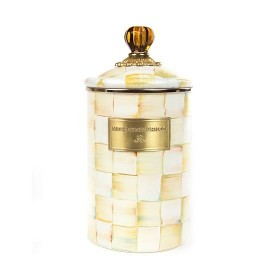 MacKenzie Childs Parchment Check Canister Large