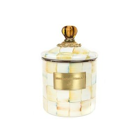 MacKenzie Childs Parchment Check Canister Small