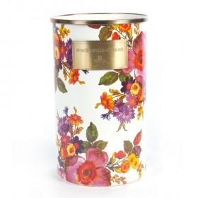 MacKenzie Childs White Flower Market Enamel Utensil Jar