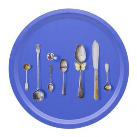 Jamida Michael Angove Cutlery Cobalt Round Drinks Tray 39cm