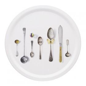 Jamida Michael Angove Cutlery White Round Drinks Tray 39cm