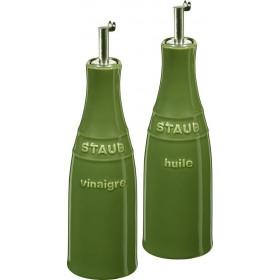 Staub Ceramic Oil and Vinegar Set Basil Green
