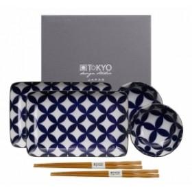 Tokyo Design Studio Kotobuki Plate Set Blue and White