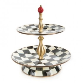 MacKenzie Childs Courtly Check Enamel Two Tier Sweet Stand