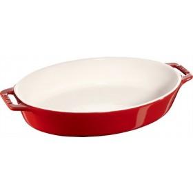 Staub Ceramic Oval Baking Dish Cherry Red 23cm