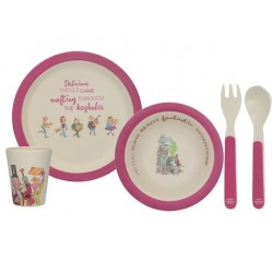 Roald Dahl Charlie And The Chocolate Factory 4Pc Pressed Bamboo Dinner Set